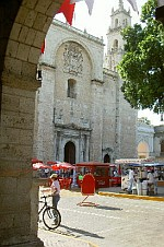 Merida Cathedral and Food Stalls